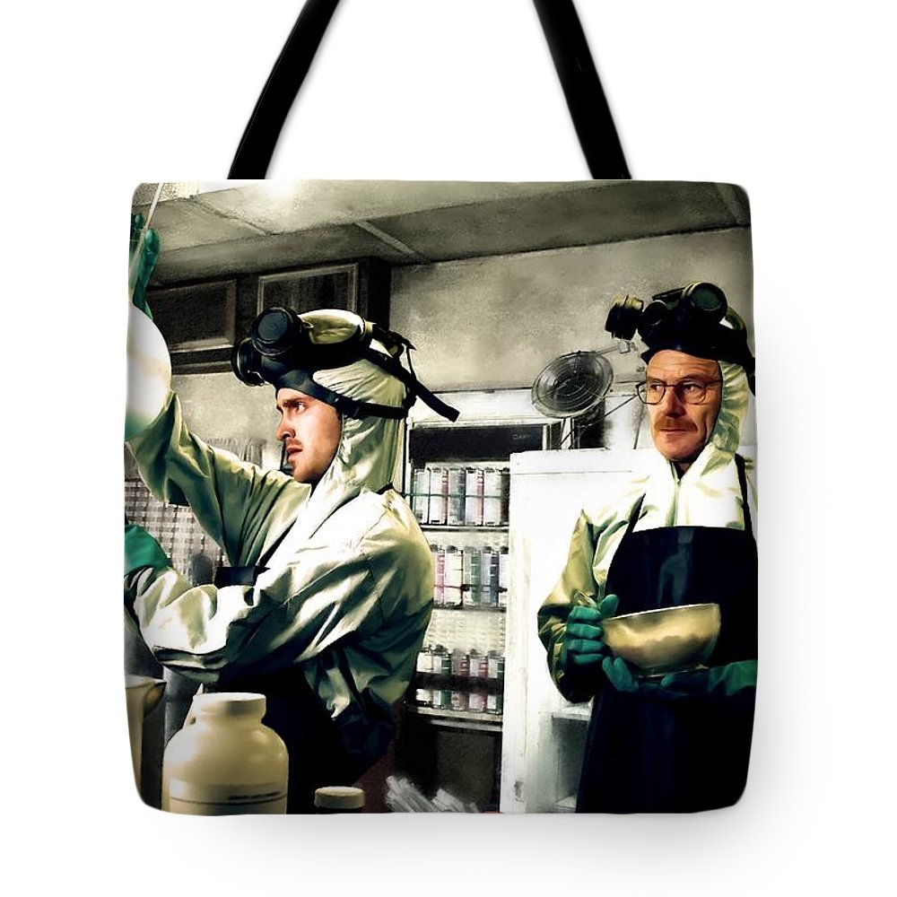 Bryan Cranston Tote Bag featuring the digital art Walter White and Jesse Pinkman by Gabriel T Toro