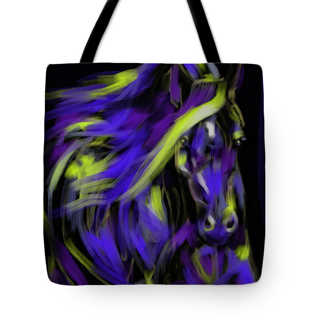 Horse Tote Bag featuring the painting War Horse by Go Van Kampen