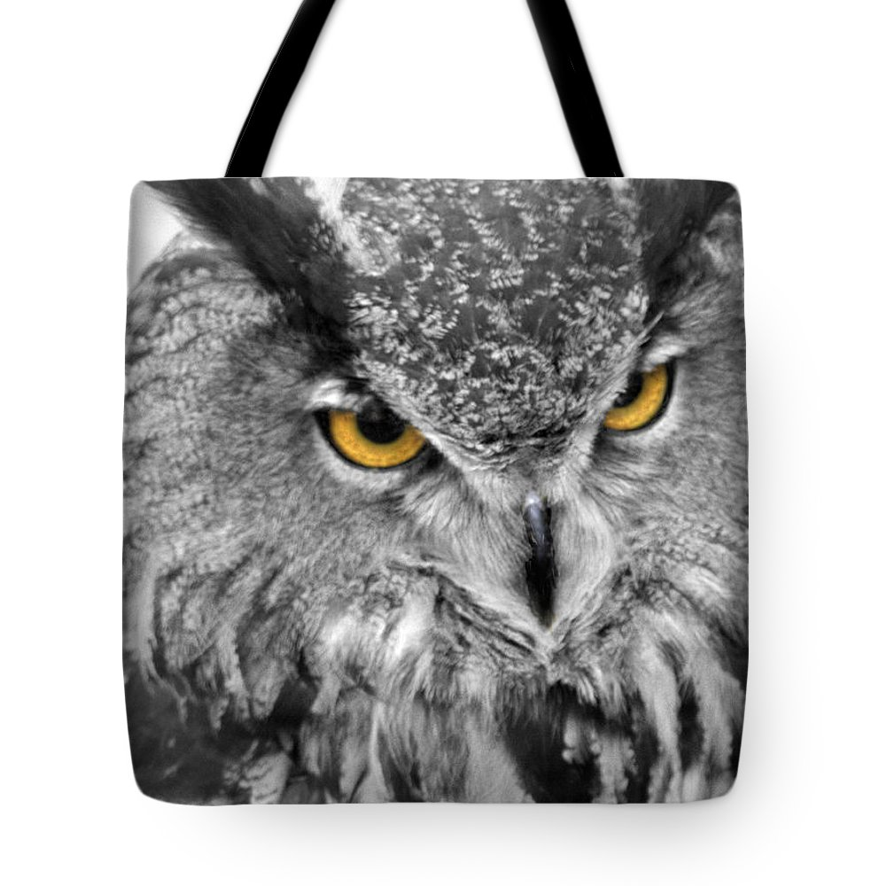 Great Horned Owl Tote Bag featuring the photograph Watching You Owl by John Straton