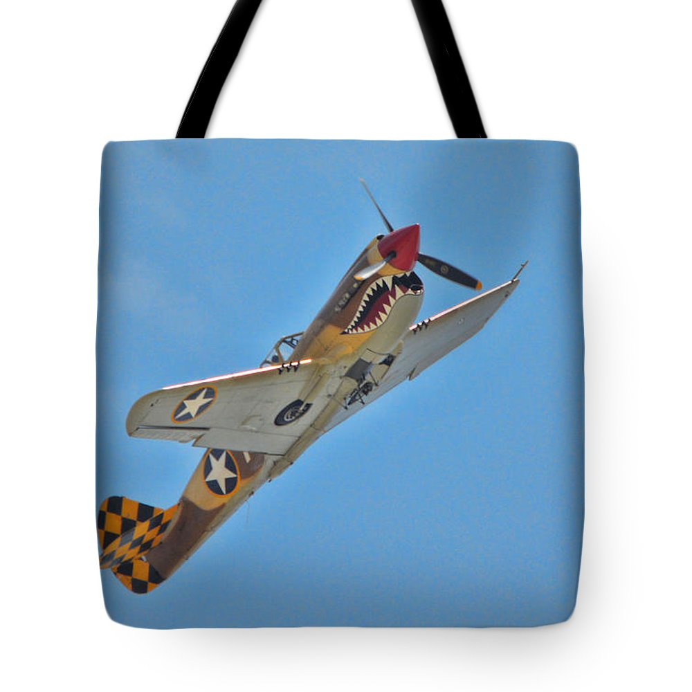 Curtis P-40 Warhawk Tote Bag featuring the photograph Warhawk Fighter by Tommy Anderson