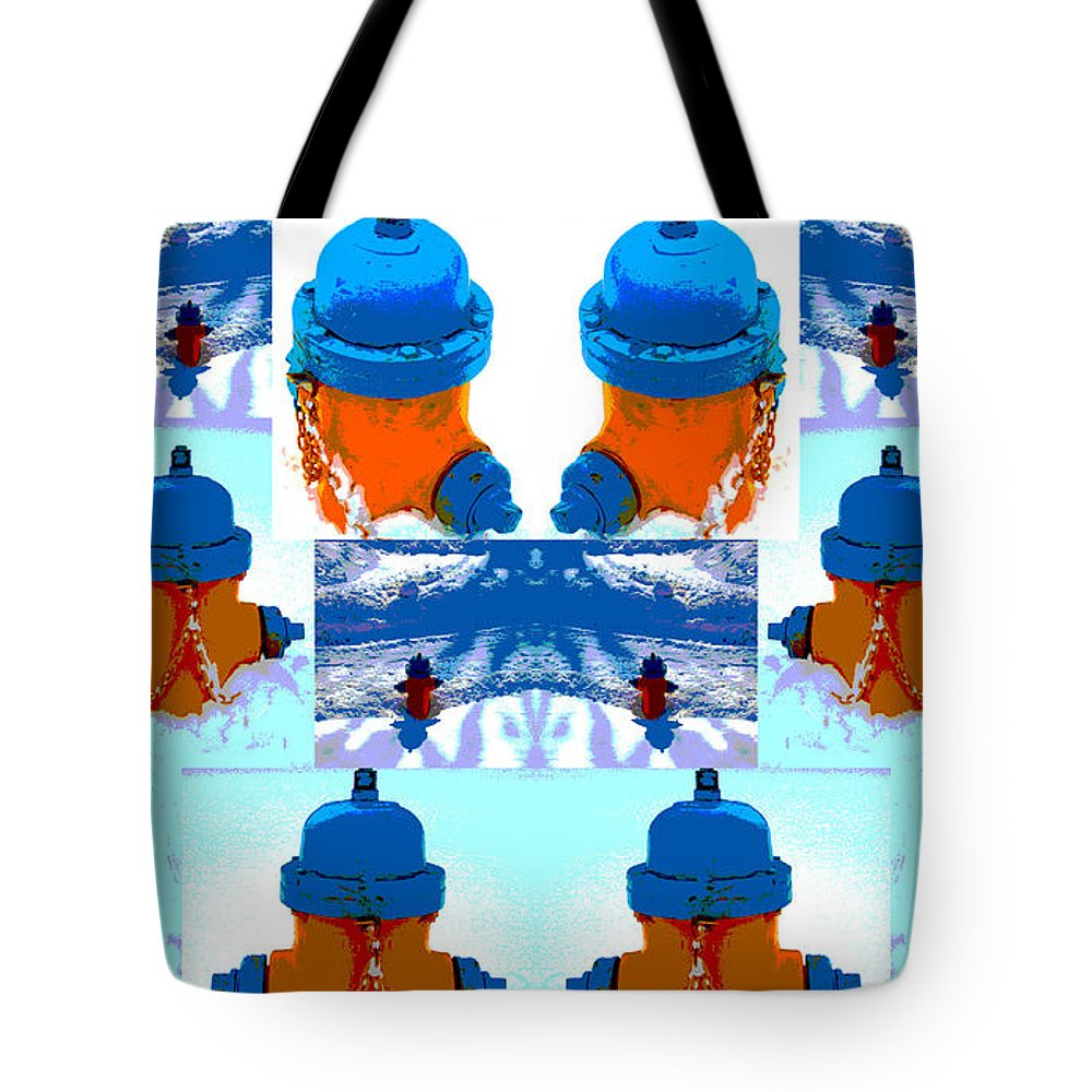 Warhol Tote Bag featuring the photograph Warhol Firehydrants by Nina Silver