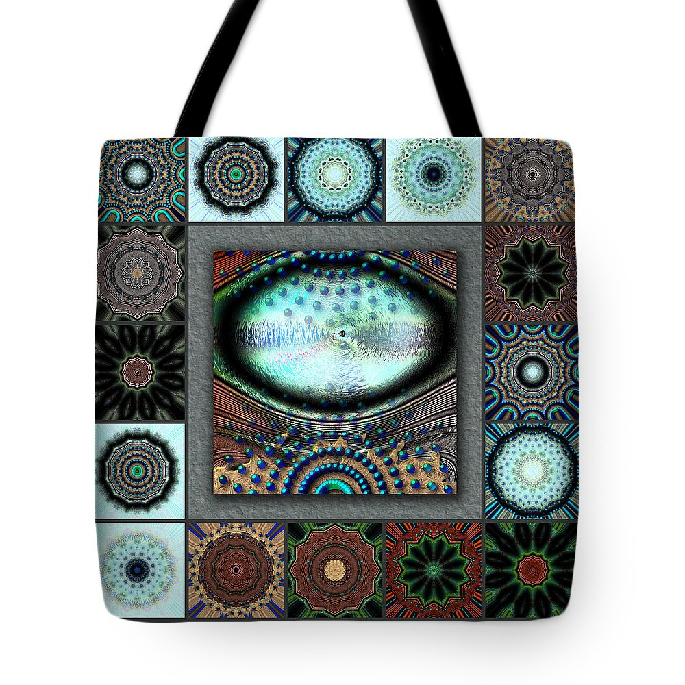Turquoise Tote Bag featuring the digital art Warm Cosmos Redux by Ann Stretton