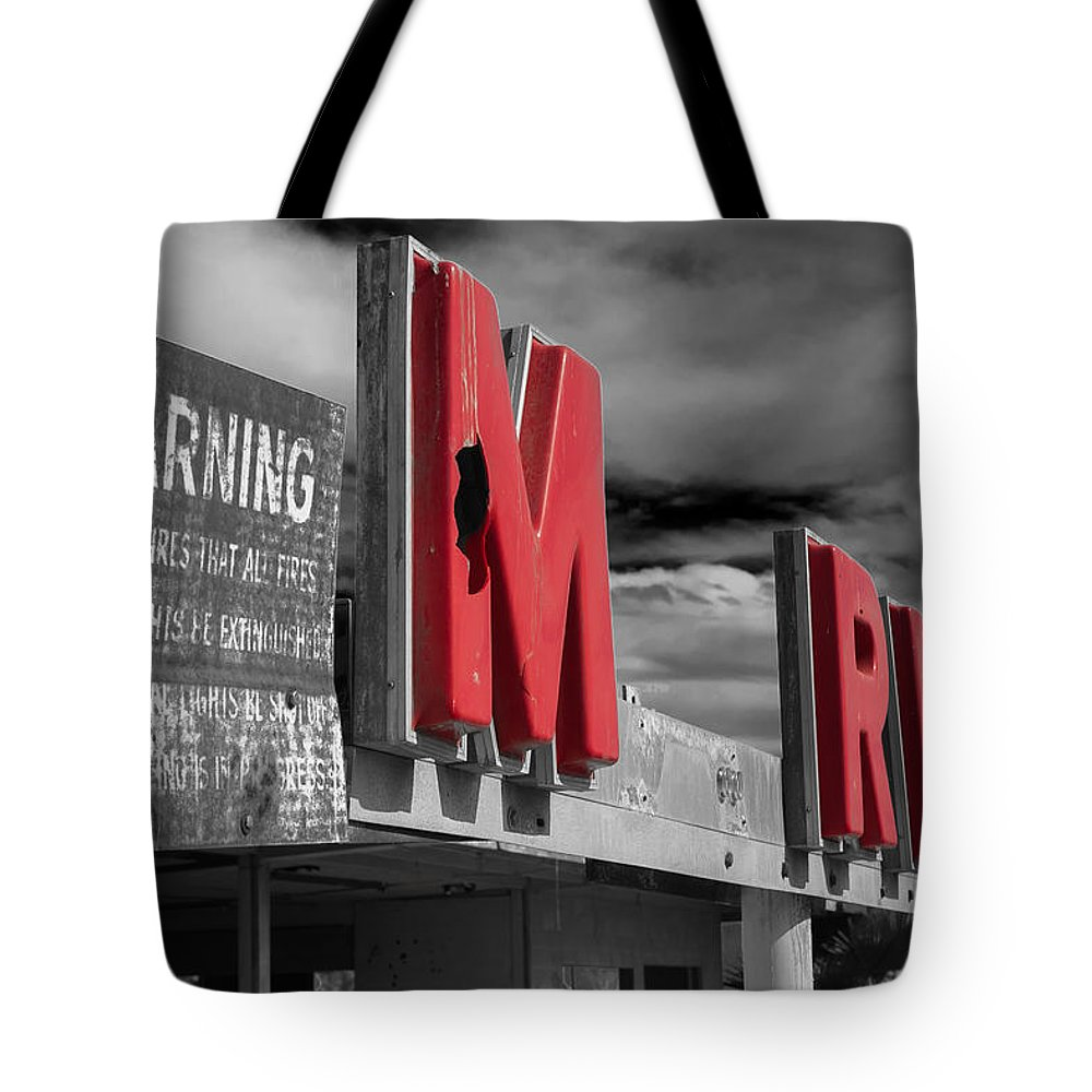 Abandoned Tote Bag featuring the photograph Warning M Rine Black And White by Scott Campbell