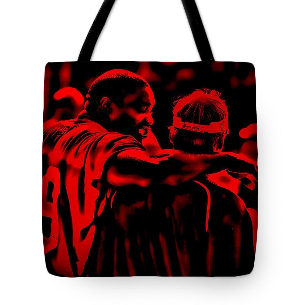 Warren Sapp Tote Bag featuring the digital art Warren Sapp And Jon Gruden by Brian Reaves