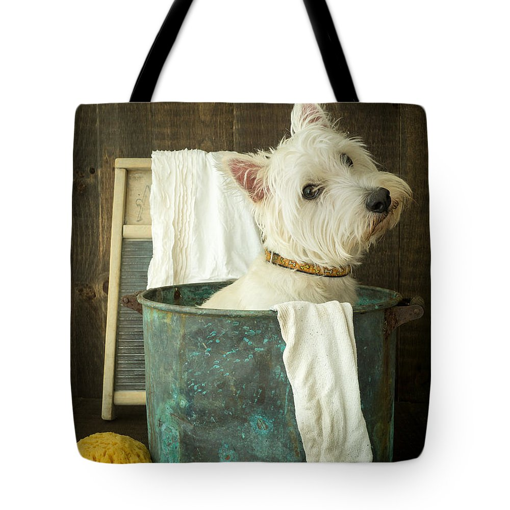 Dog Tote Bag featuring the photograph Wash Day by Edward Fielding