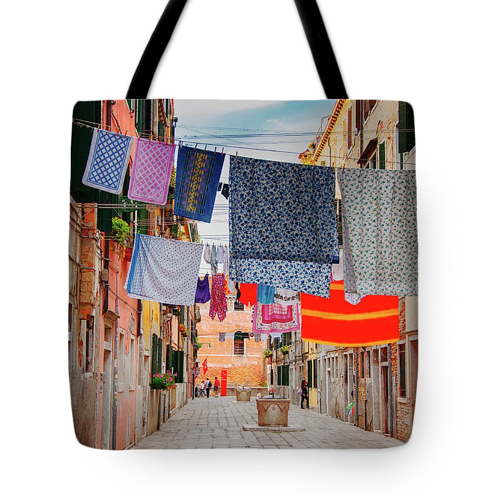 Hanging Tote Bag featuring the photograph Washing Hanging Across Street, Venice by Svjetlana