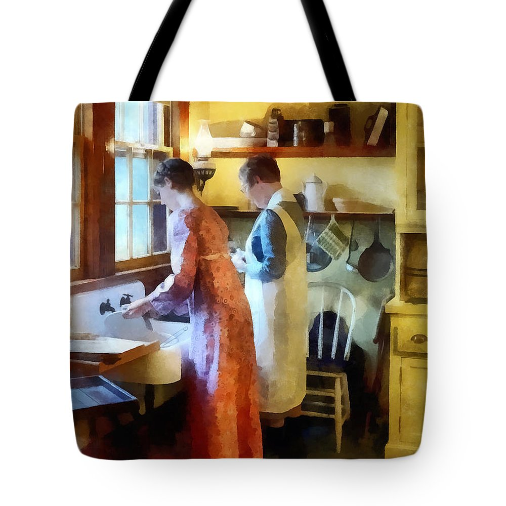 Mother Tote Bag featuring the photograph Washing Up After Dinner by Susan Savad