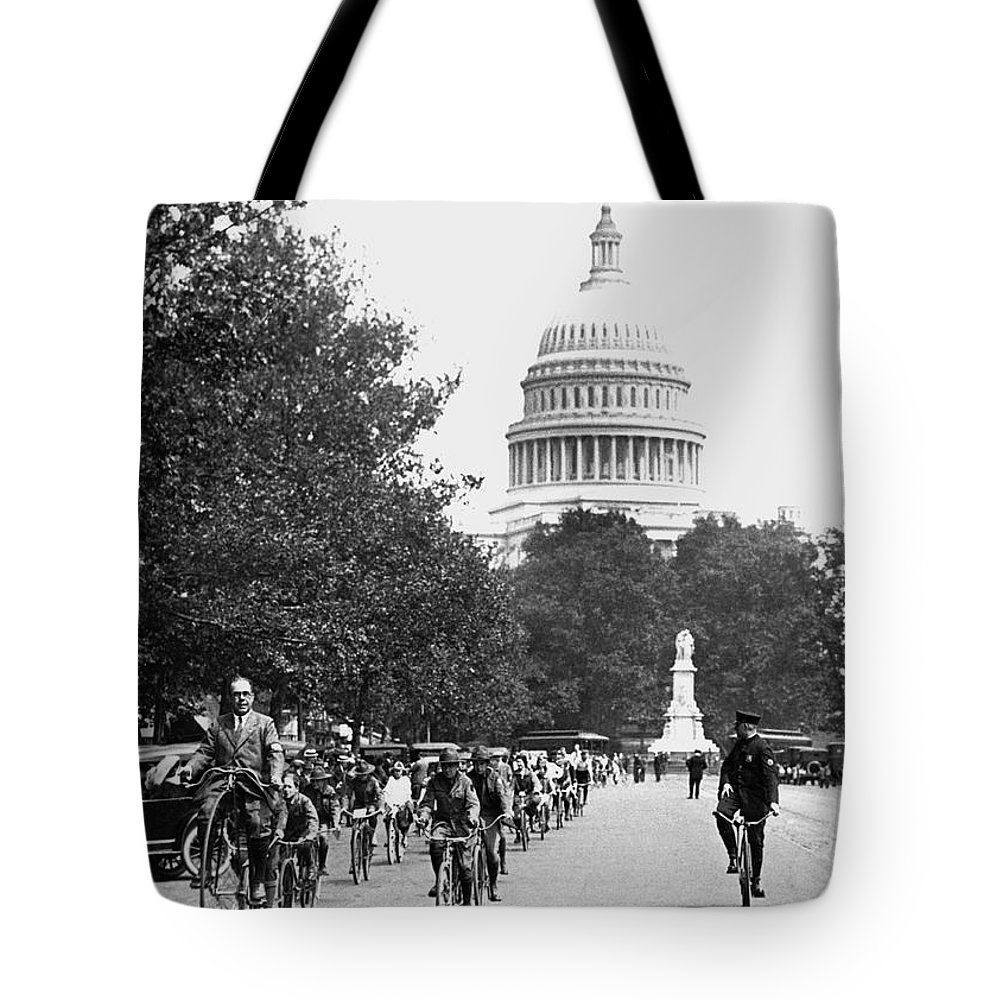 1920s Tote Bag featuring the photograph Washington Bicycle Parade by Underwood Archives