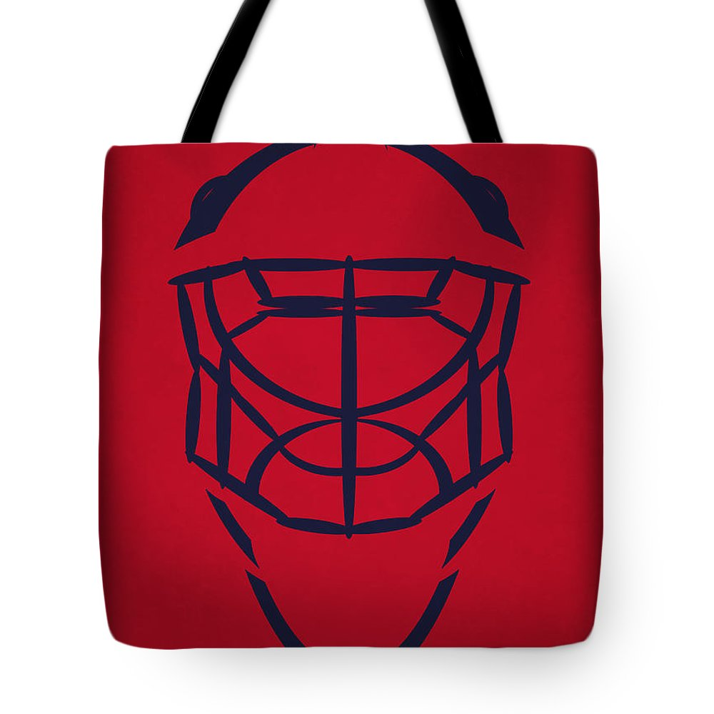 Capitals Tote Bag featuring the photograph Washington Capitals Goalie Mask by Joe Hamilton