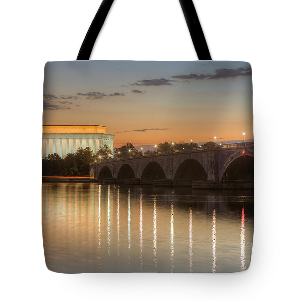 Clarence Holmes Tote Bag featuring the photograph Washington Landmarks At Dawn I by Clarence Holmes
