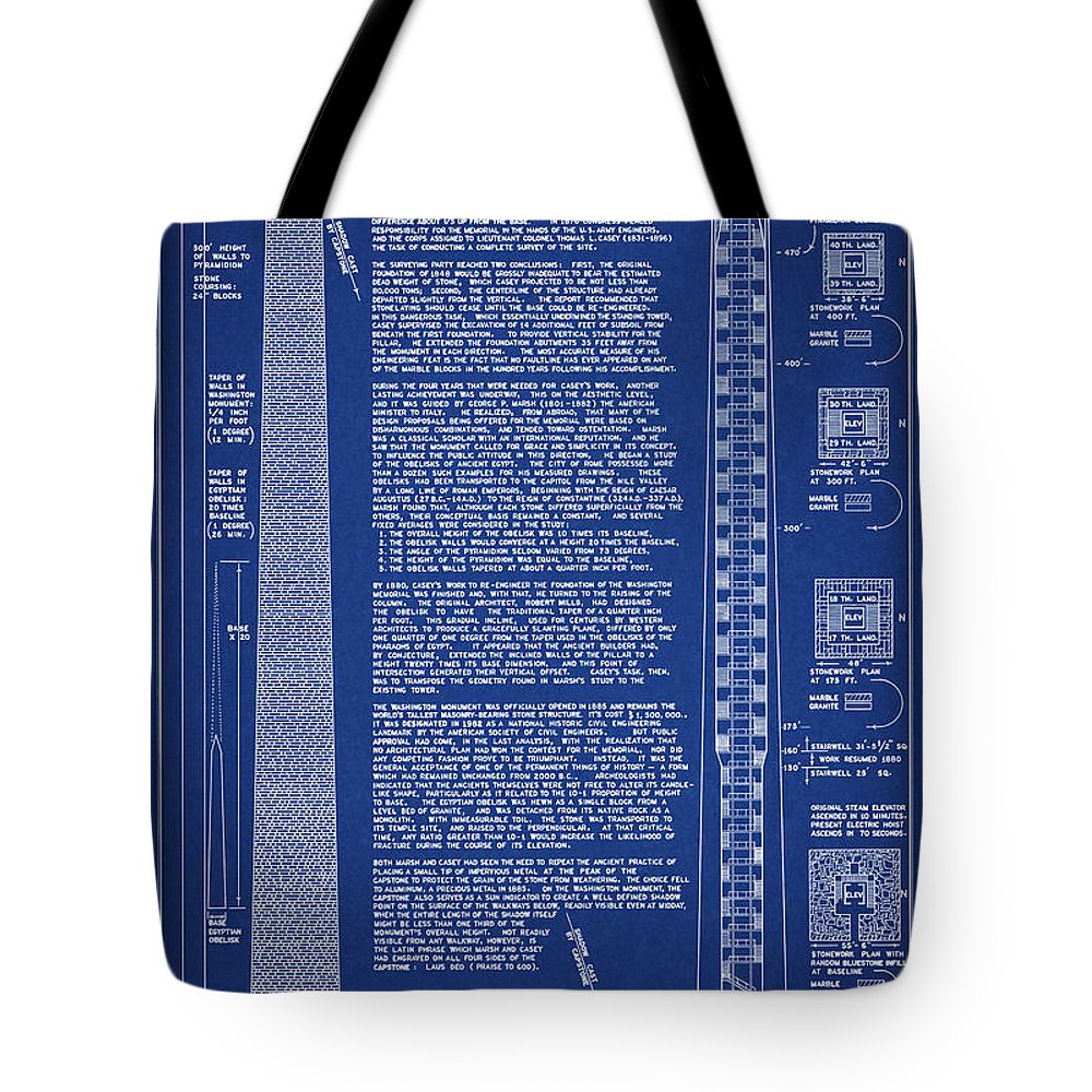 washington Monument Tote Bag featuring the digital art Washington Monument Engineering Drawing by Daniel Hagerman