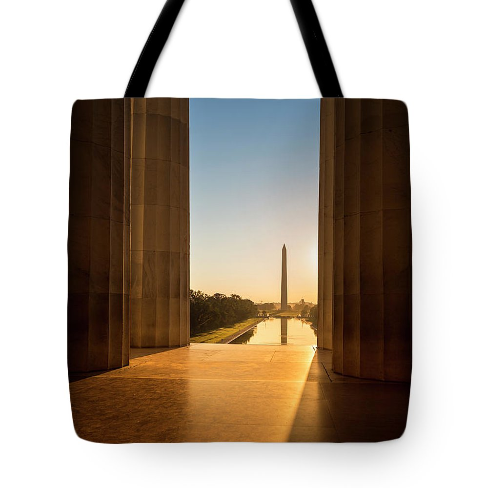 Built Structure Tote Bag featuring the photograph Washington Monument From The Lincoln by Pgiam
