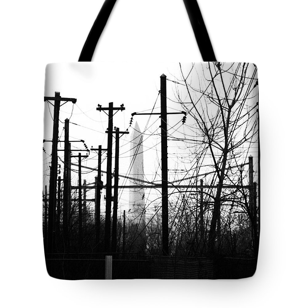 Manument Tote Bag featuring the photograph Washington Monument From The Train Yard. Washington Dc by Thomas Marchessault