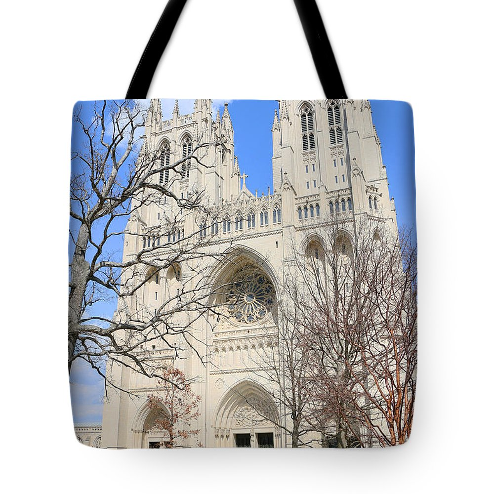 Washington National Cathedral Tote Bag featuring the photograph Washington National Cathedral by Allen Beatty