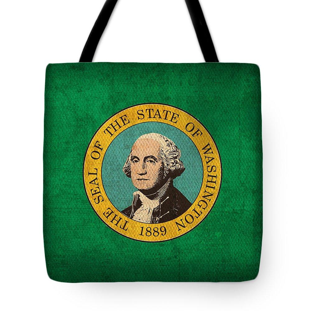 Washington State Flag Art On Worn Canvas Tote Bag featuring the mixed media Washington State Flag Art On Worn Canvas by Design Turnpike