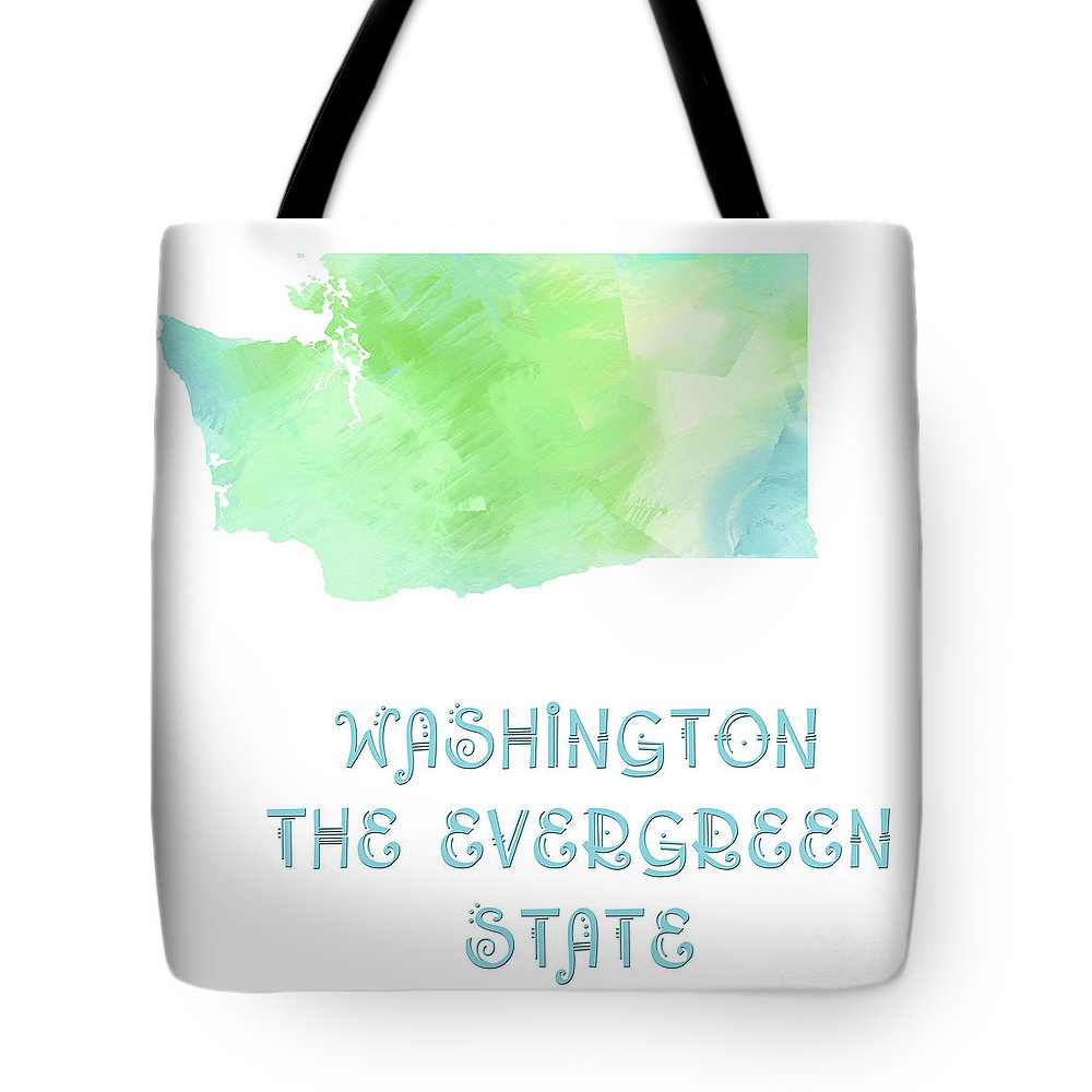 Andee Design Tote Bag featuring the digital art Washington - The Evergreen State - Map - State Phrase - Geology by Andee Design