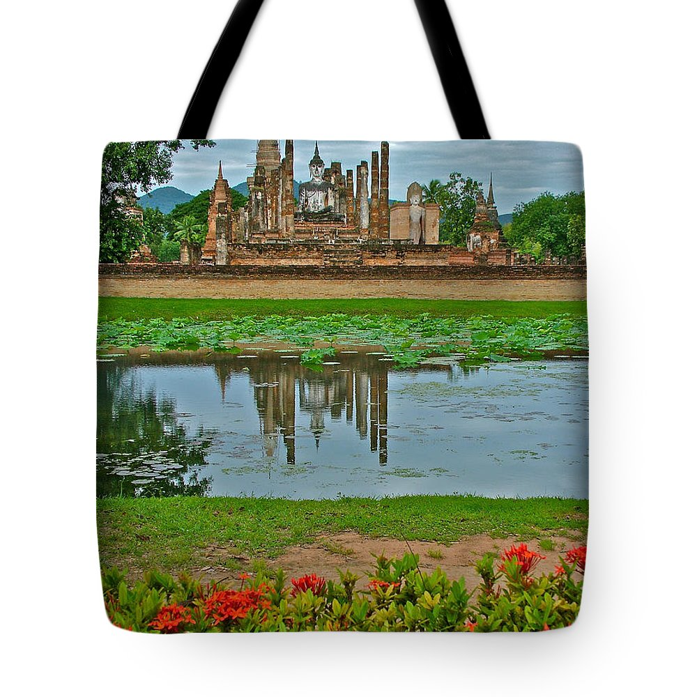 Wat Mahathat Reflection In 13th Century Sukhothai Historical Park Tote Bag featuring the photograph Wat Mahathat In13th Century Sukhothai Historical Park-thailand by Ruth Hager