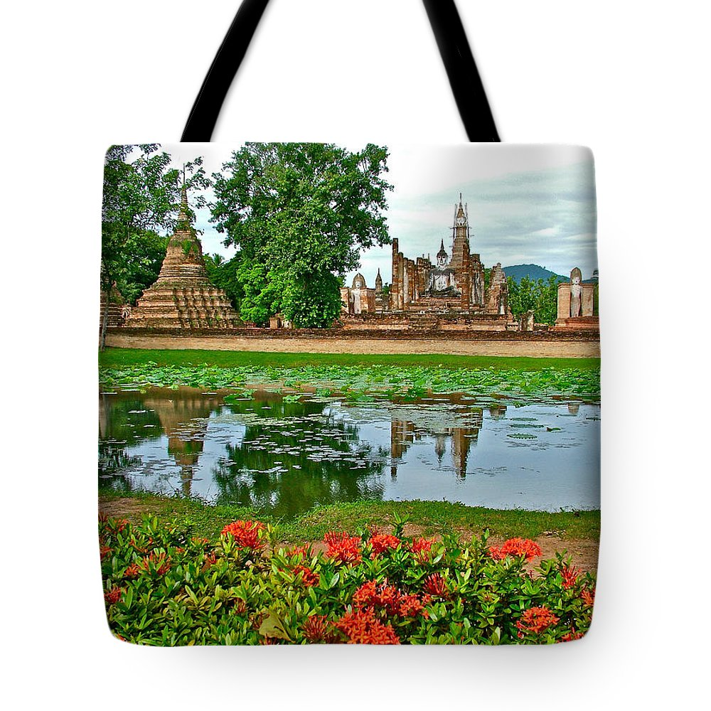 Wat Mahathat Reflection In 13th Century Sukhothai Historical Park Tote Bag featuring the photograph Wat Mahathat Reflection In 13th Century Sukhothai Historical Park-thailand by Ruth Hager