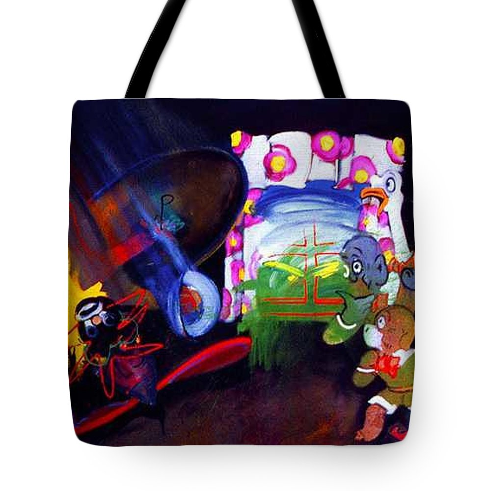 Cartoon Tote Bag featuring the painting Watch With Mother by Charles Stuart