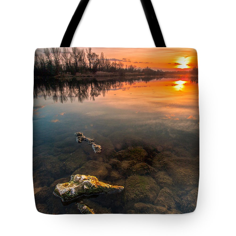Landscape Tote Bag featuring the photograph Watching Sunset by Davorin Mance