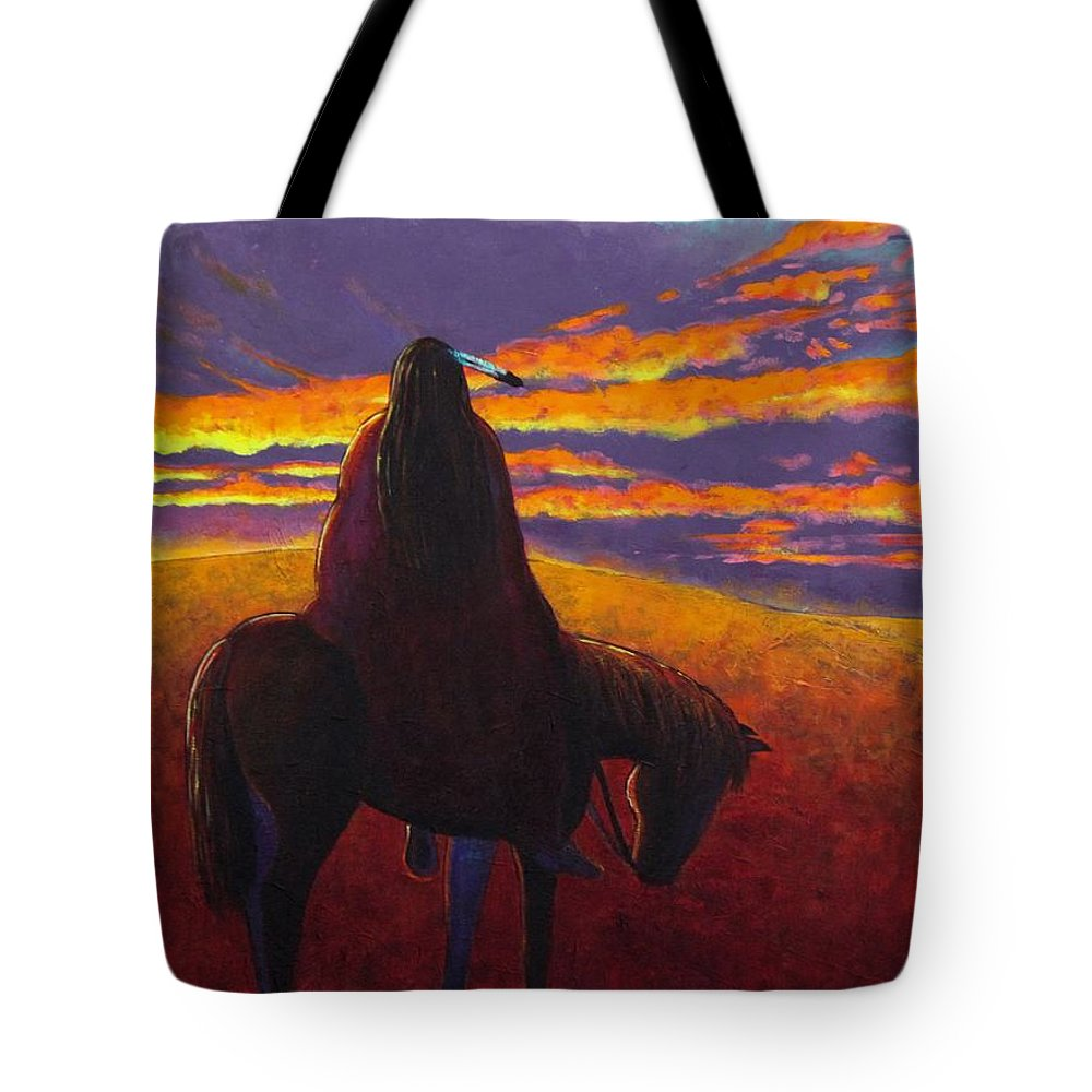 Native American Indian Tote Bag featuring the painting Watching The Magic by Joe Triano