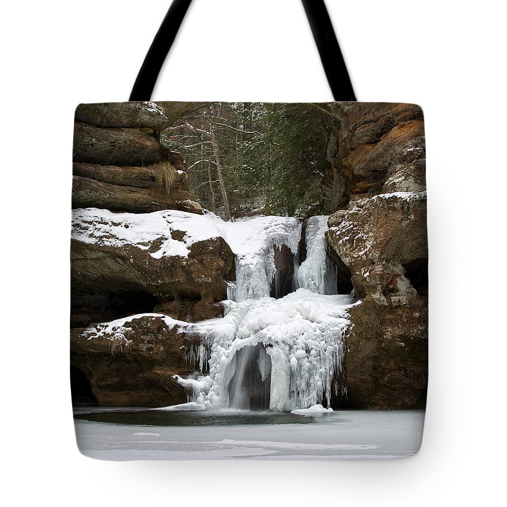 Waterfall Tote Bag featuring the photograph Water And Ice Flow by Dale Kincaid