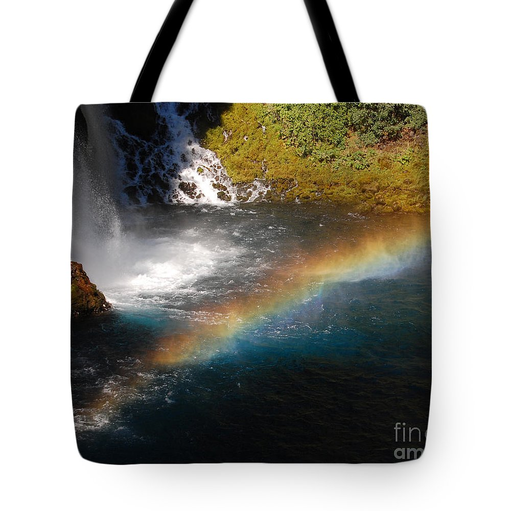 Mcarthur-burney Falls Memorial State Park Tote Bag featuring the photograph Water And Rainbow by Debra Thompson