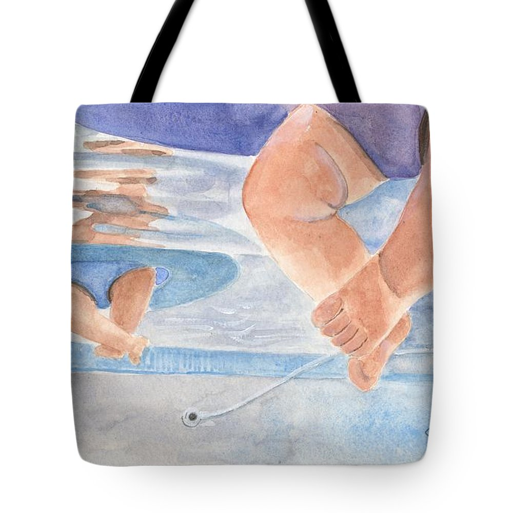 Baby Legs Tote Bag featuring the painting Water Babies by Sheryl Heatherly Hawkins