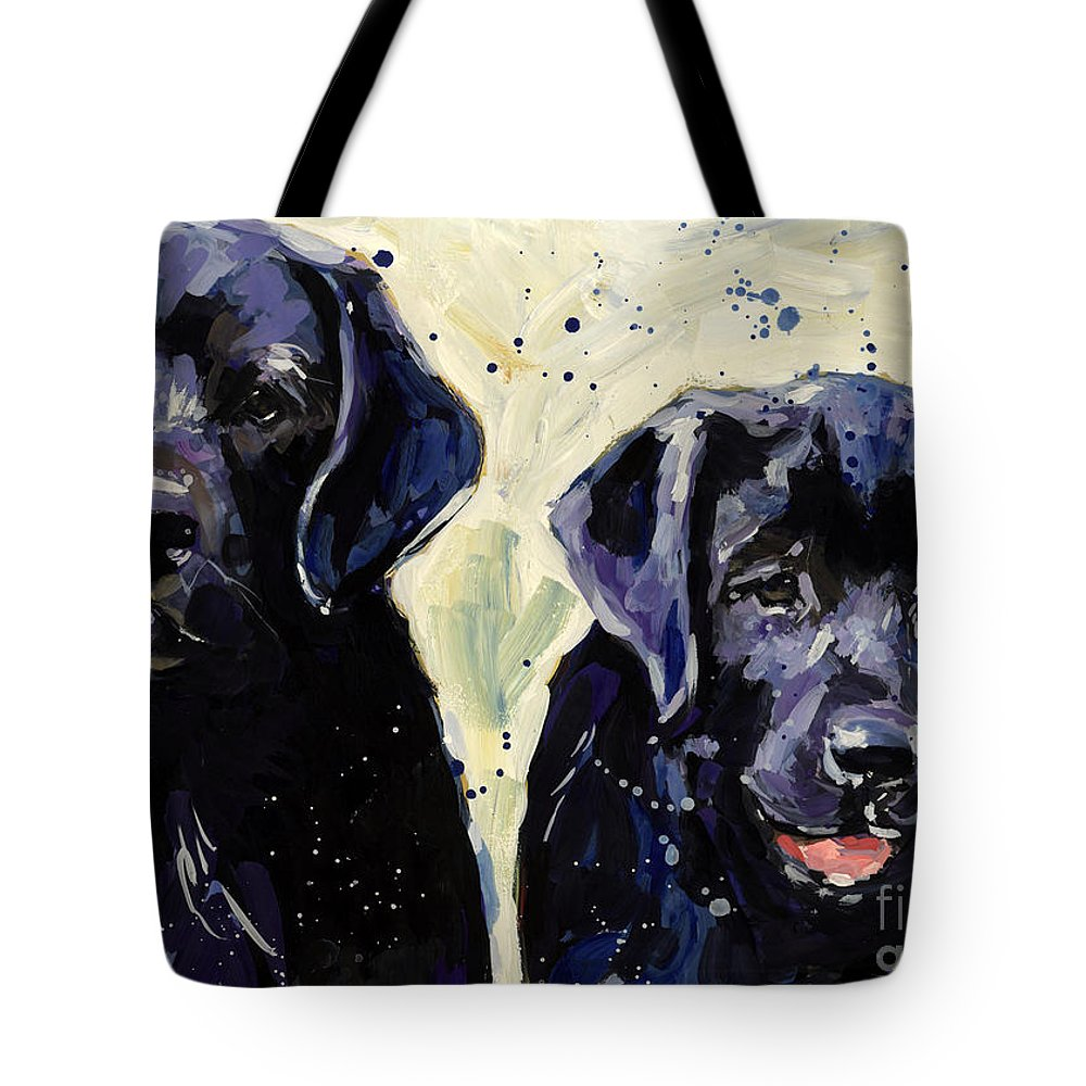 Labrador Retriever Puppies Tote Bag featuring the painting Water Boys by Molly Poole