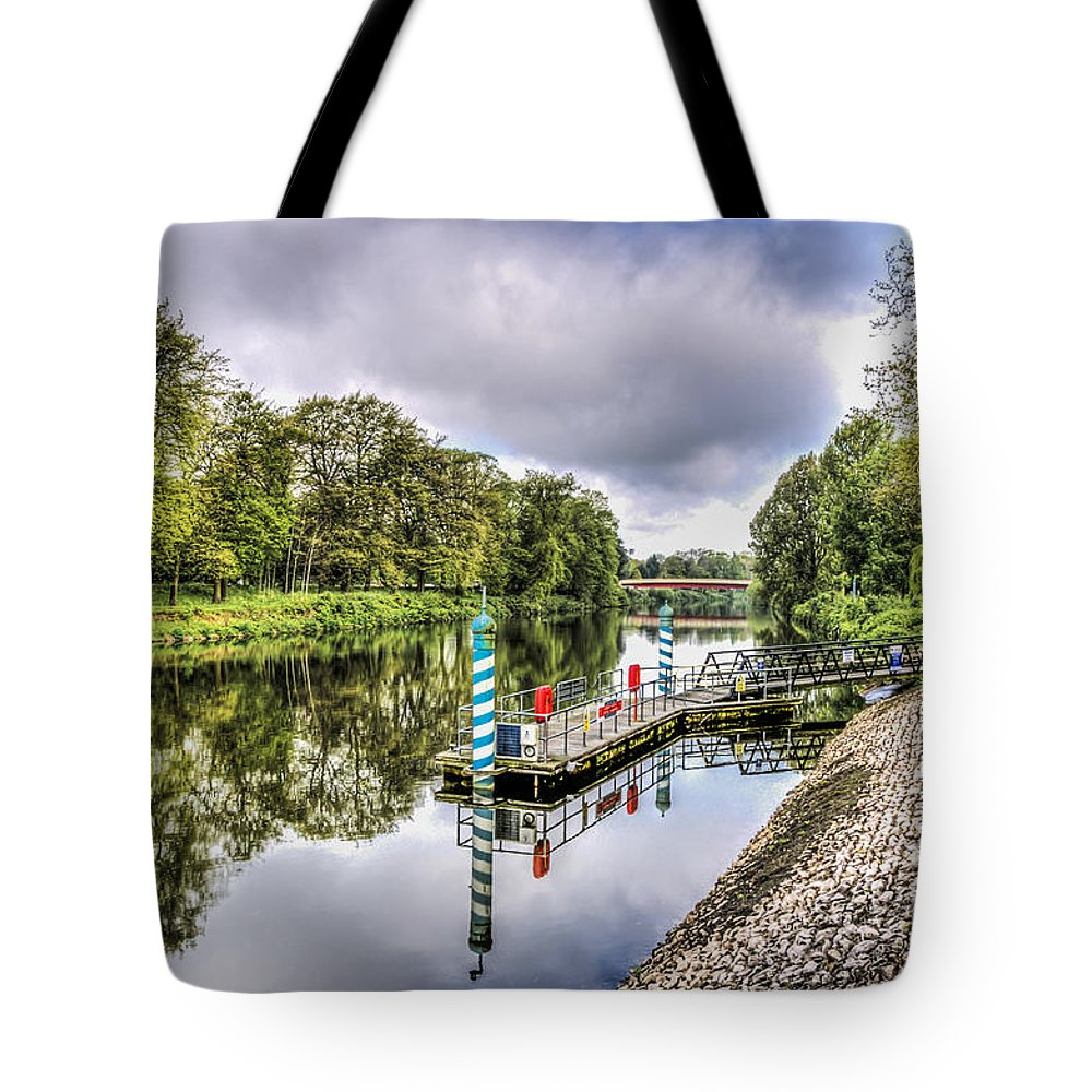 Water Bus Stop Tote Bag featuring the photograph Water Bus Stop Bute Park Cardiff by Steve Purnell