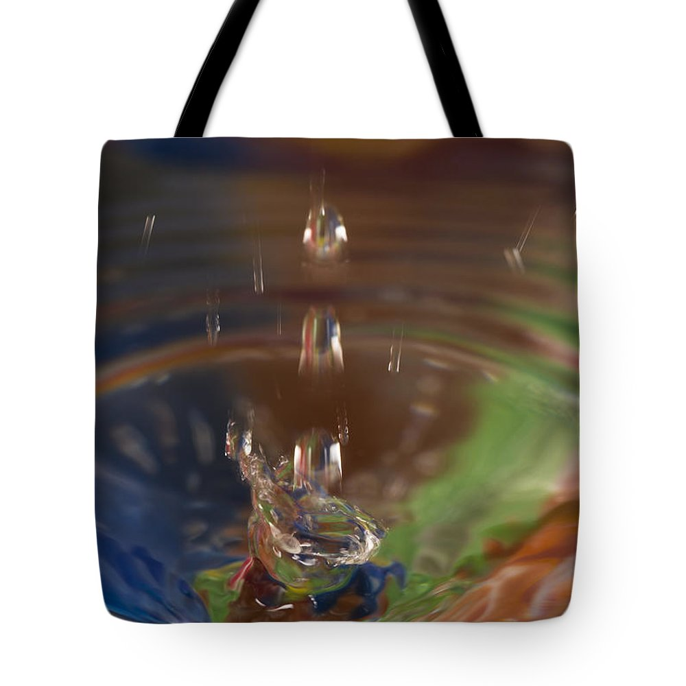 Abstract Tote Bag featuring the photograph Water Drop Abstract 5 by John Brueske