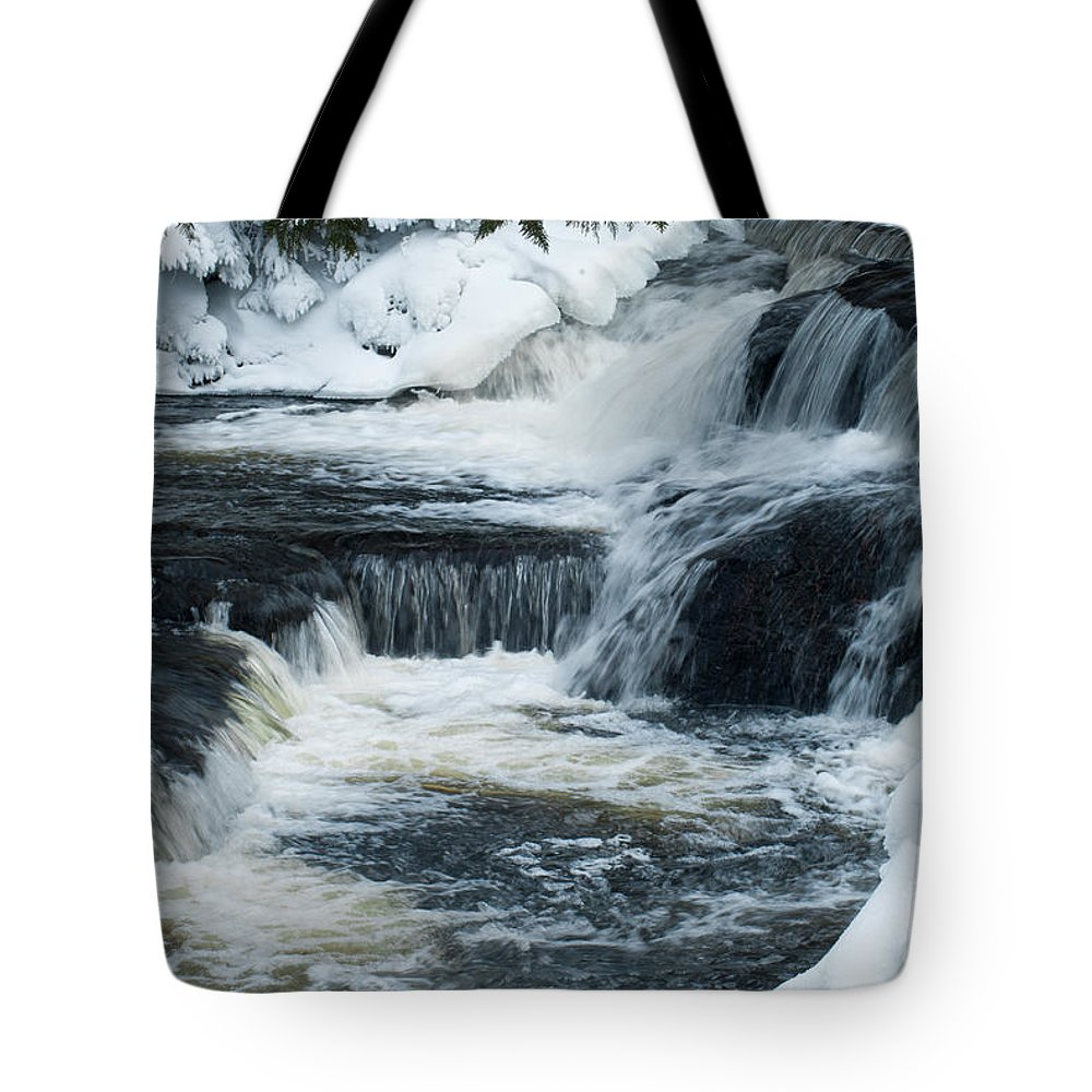 Water Falls Tote Bag featuring the photograph Water Fall On The River by Optical Playground By MP Ray