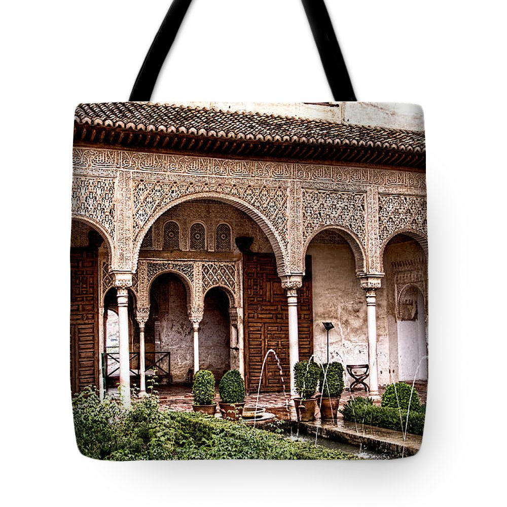 Water Gardens Tote Bag featuring the photograph Water Gardens Of The Palace Of Generalife by Weston Westmoreland