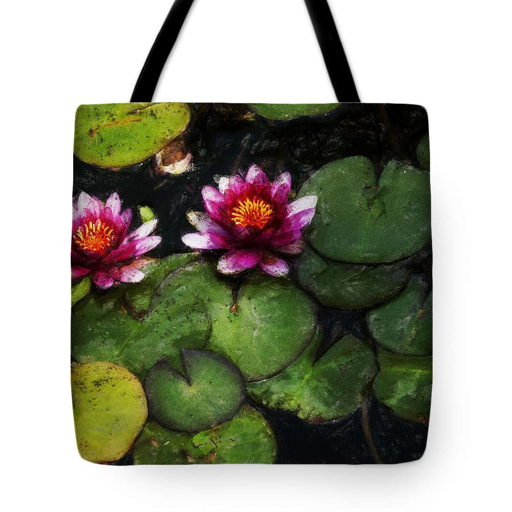 Water Lily Tote Bag featuring the photograph Water Lily Acanthius by David Lange