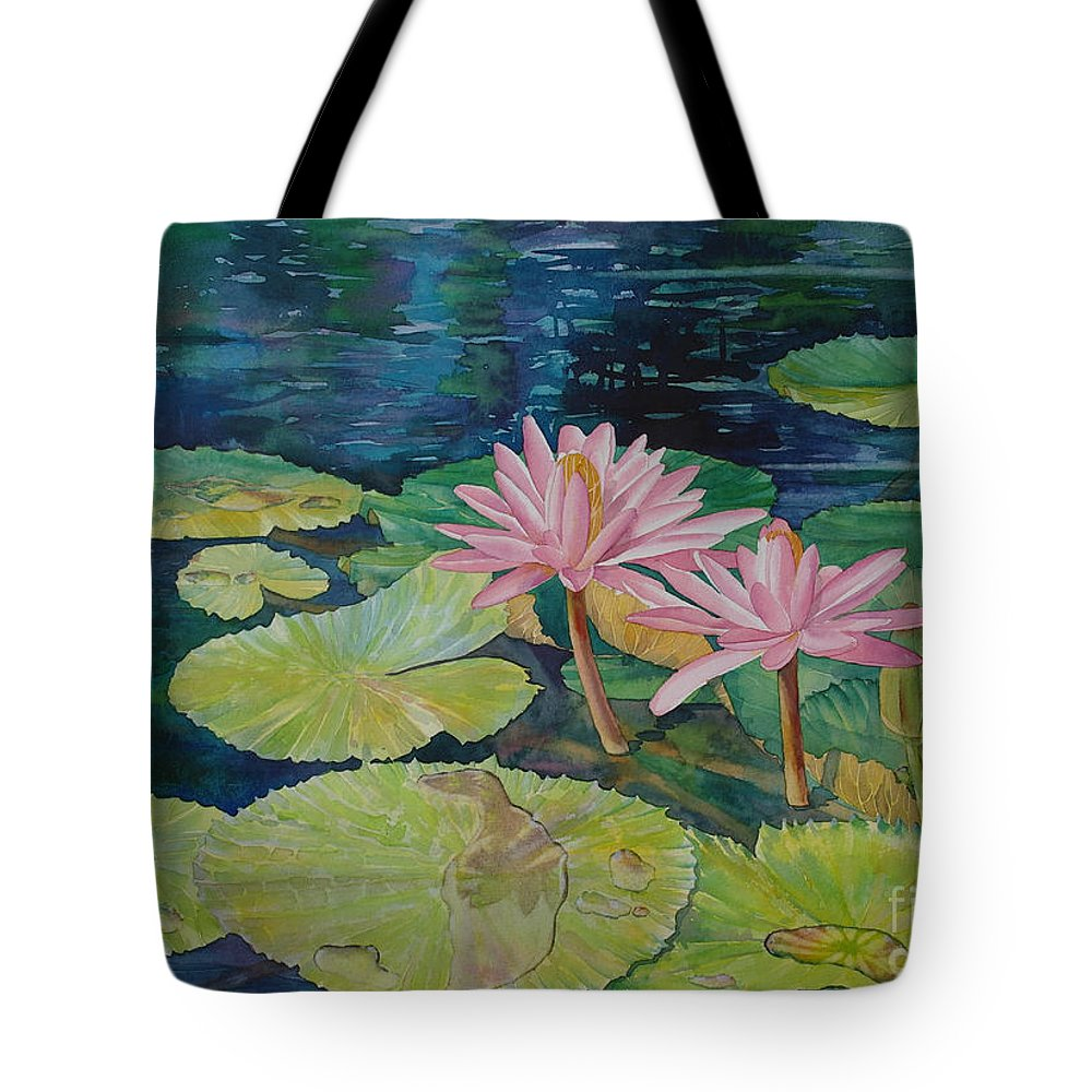 Sveta Artworks Tote Bag featuring the painting Water Lily In The Morning by SvetLana Grecova