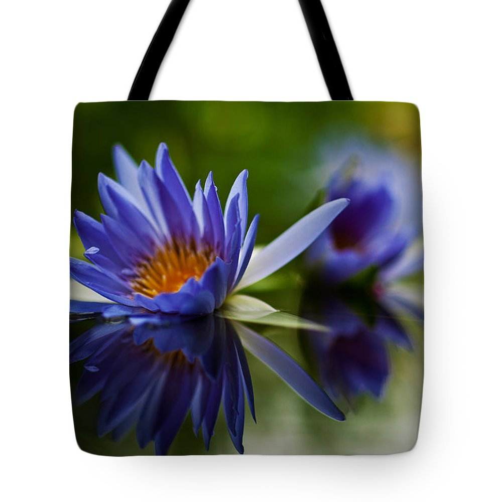 Lily Tote Bag featuring the photograph Water Lily Reflections by Mike Reid