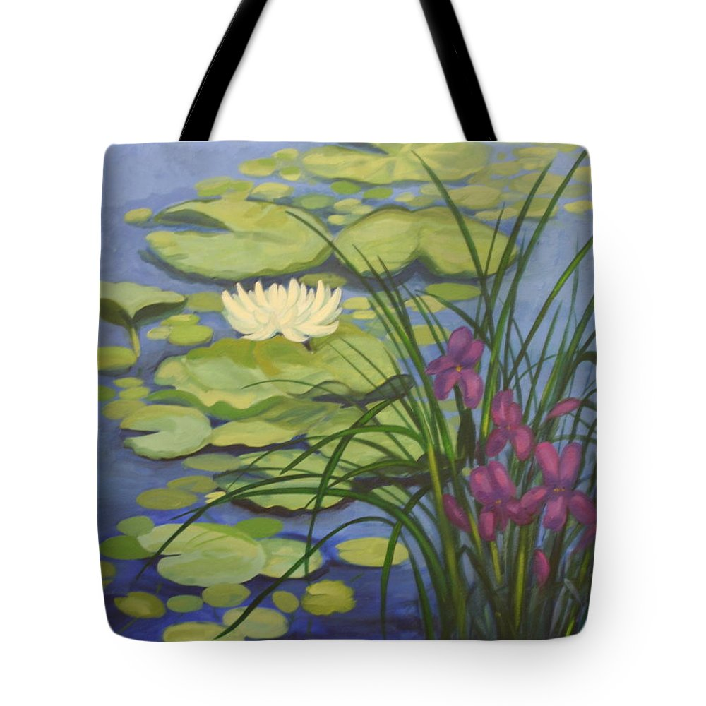 Water Tote Bag featuring the painting Water Lotus by Sherri Anderson