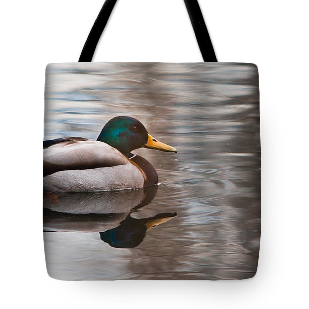 Aves Tote Bag featuring the photograph Water Reflection by Jivko Nakev