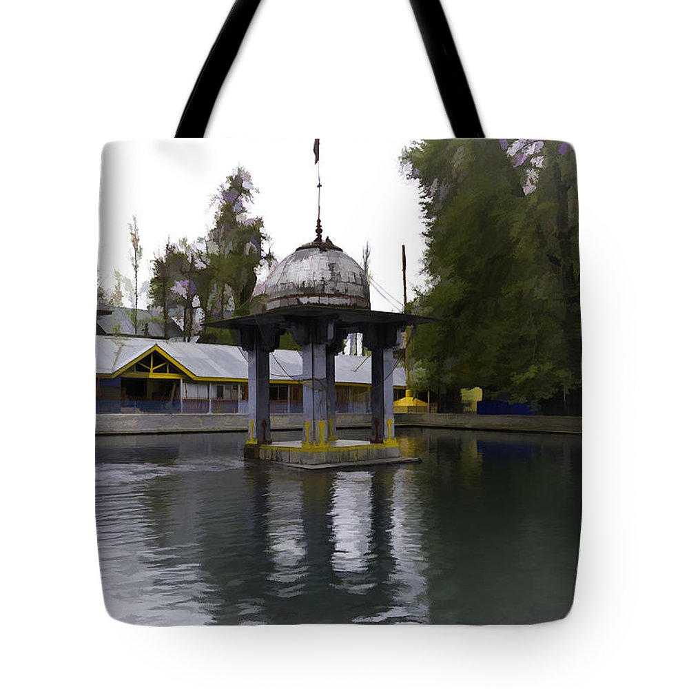 Action Tote Bag featuring the digital art Water Tank And Premises Inside The Mattan Temple by Ashish Agarwal