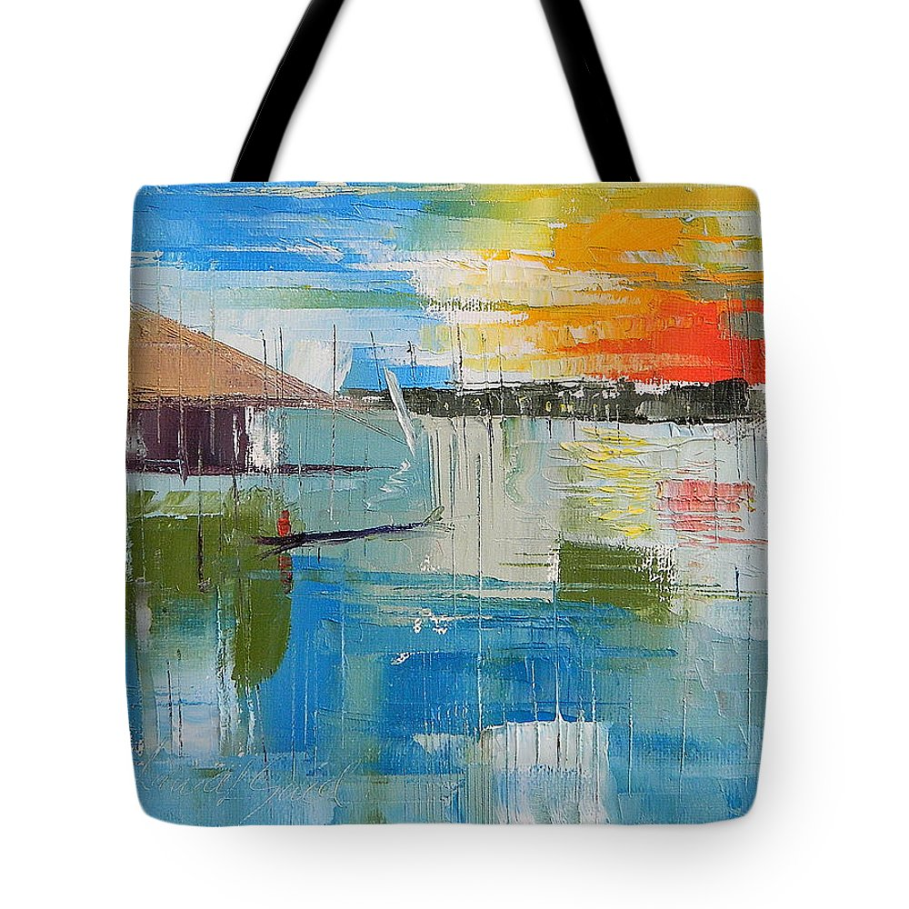 Lagos Tote Bag featuring the painting Water Taxi by Said Oladejo-lawal