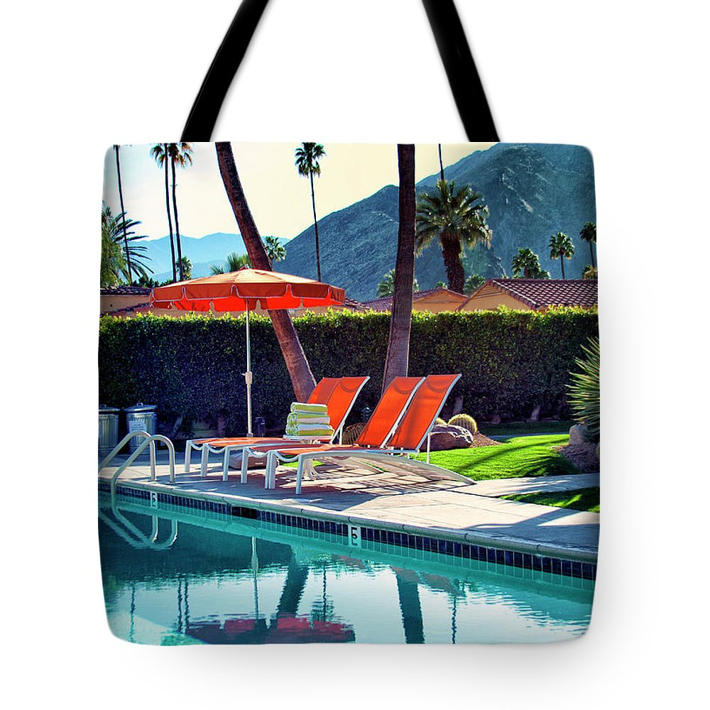 Pool Tote Bag featuring the photograph Water Waiting Palm Springs by William Dey