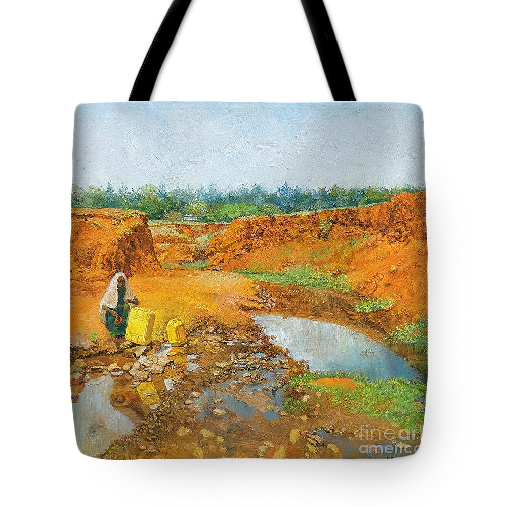 Water Tote Bag featuring the painting Water Water by Yoseph Abate