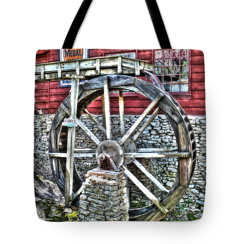 Hdr Tote Bag featuring the photograph Water Wheel On Mill V2 by John Straton