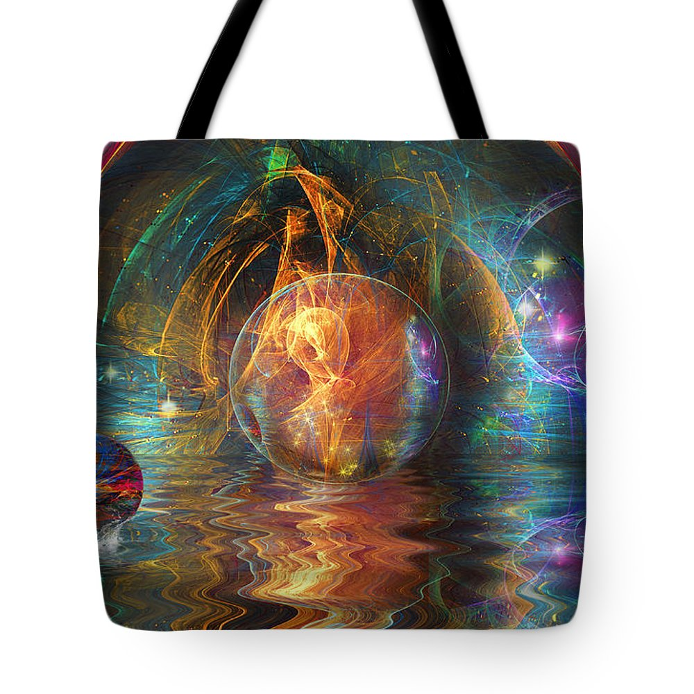 Digital Art Tote Bag featuring the digital art Water Worlds by Mary Almond