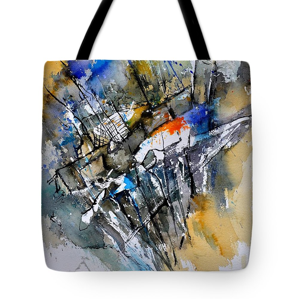Abstract Tote Bag featuring the painting Watercolor 314090 by Pol Ledent
