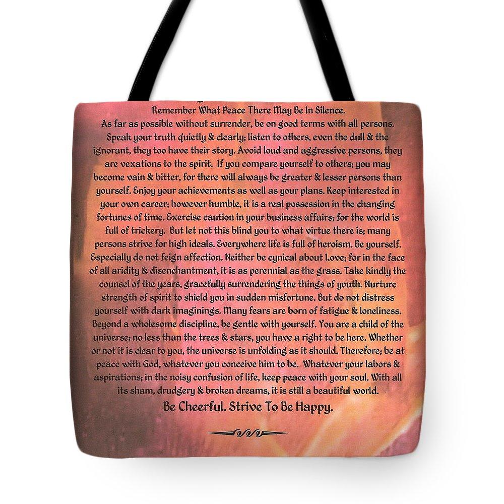 Desiderata Tote Bag featuring the painting Watercolor Desiderata On Fuchsia Strokes by Desiderata Gallery