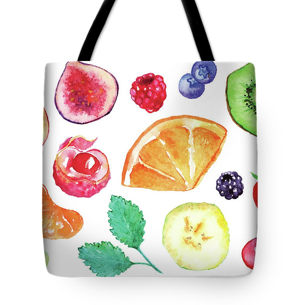 Cherry Tote Bag featuring the digital art Watercolor Exotic Fruit Berry Slice Set by Silmairel
