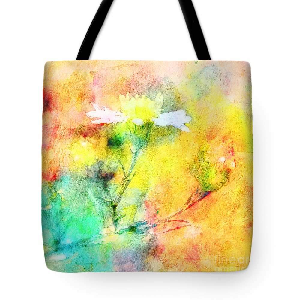 Tiny Tote Bag featuring the photograph Watercolor Wildflowers - Digital Paint by Debbie Portwood