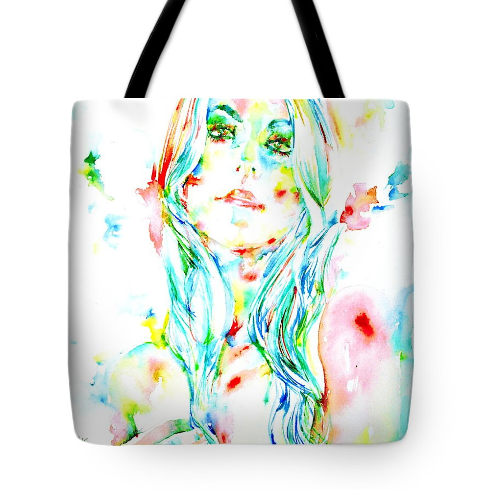 Woman Tote Bag featuring the painting Watercolor Woman.1 by Fabrizio Cassetta