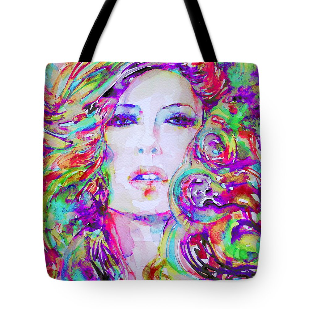 Girl Tote Bag featuring the painting Watercolor Woman.32 by Fabrizio Cassetta